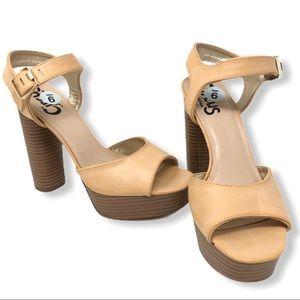 Circus Tan Chunk Heel Platform Sandal sz 9